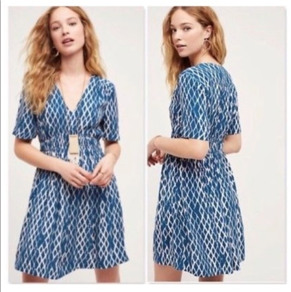 a7ac3881f5df Anthropologie Dresses | Hd In Paris Turquoise Blue And Cream Dress ...